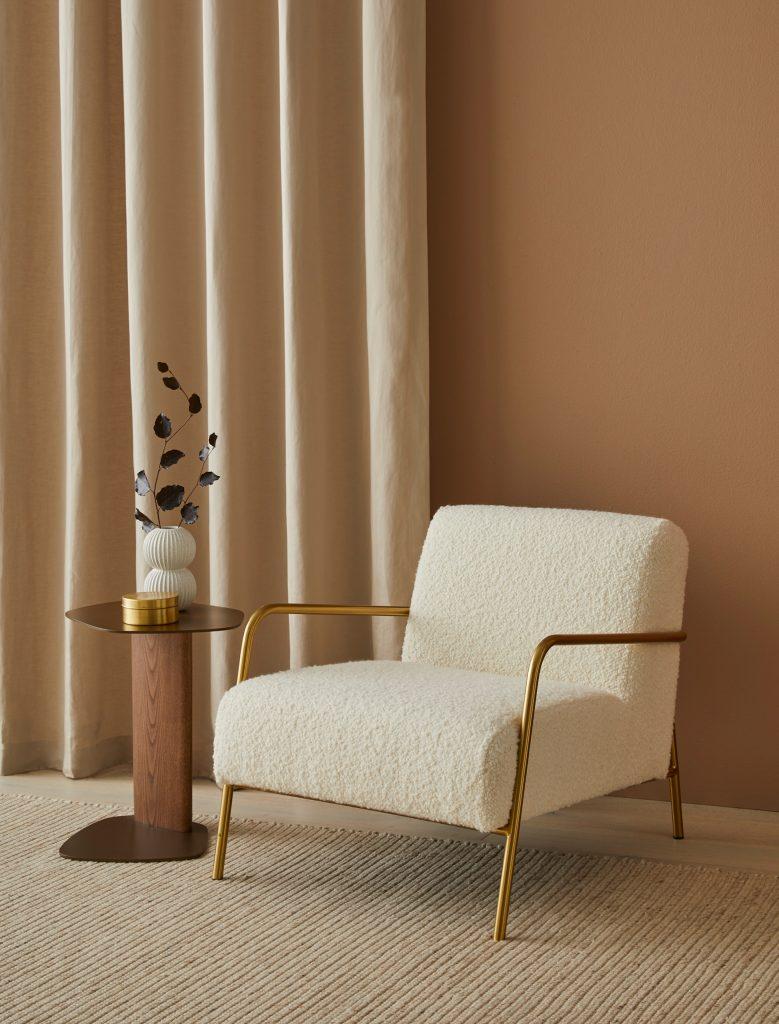 Warwick Fabrics Lore drapery & Fabio upholstery boucle